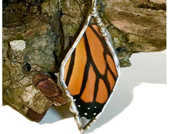 Real Monarch Butterfly Wing Necklace in Glass