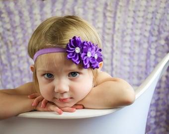 Baby headband  - girls purple headband - girls hair band - hair bands - skinny elastic headband - newborn photo props - purple headband