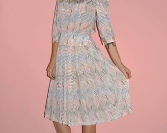 Vintage 80s Pastel Satin Pleated Peplum Pink White Blue Secretary Dress