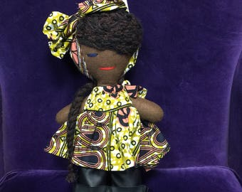 African Print Doll - African Toys - Multicultural Doll - Black Doll - Handmade Toy - Fabric Doll - African Orniment - Stocking Filler