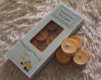 Tiger Lily Natural Soy Tea Lights - Pack of Ten