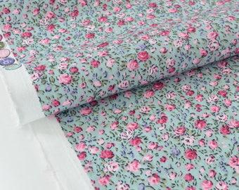 Fabric cotton Poplin flowing floral green grey x 50cm
