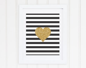 Black and White Striped Gold Sparkle Heart Printable - Instant Download - High Resolution JPEG & PDF