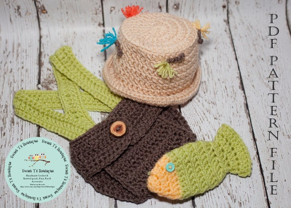 CROCHET PATTERN 110 Crochet Fly Fishing hat Diaper cover