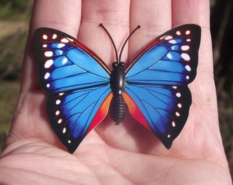 1 BUTTERFLY DECORATION, MULTICOLORED BLUE REFRIGERATOR DECOR. MAGNETIC. NO. 1