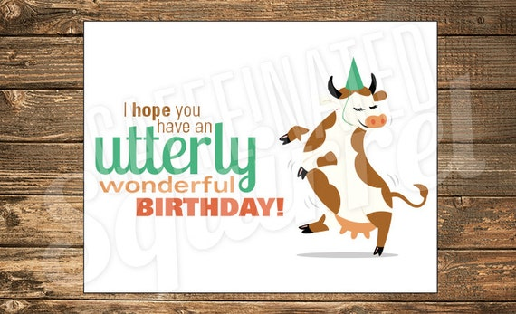 Dancing cow birthday card happy party hat utterly utter bookmarktalkfo Images
