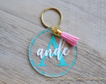 Name Keychain, Monogram, Acrylic Keychain, luggage tag, Gym bag tag, Backpack tag, Personalized keychain