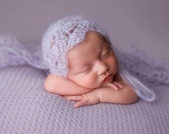 Baby Girl Bonnet - Purple Bonnet - Newborn Photography Props - Bonnet