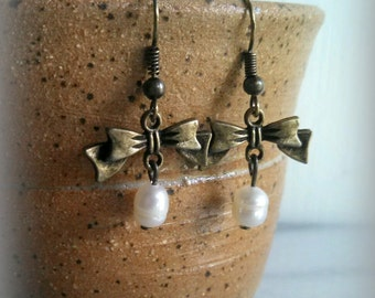 Pearl Bow Earrings, Antique Bronze Metal, Bow, Vintage Style, Dangle Earrings, Gift For Her, By ktnunna