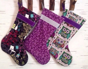 READY TO SHIP - Set of Three Colorful Mid Century Modern Christmas Stockings in Black, Grey, and Purple