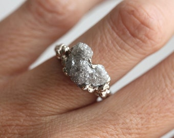 Raw Diamond Ring, Raw Engagement Ring, Heart Ring, Diamond Heart Ring, Diamond Ring, Diamond Engagement Ring, ooak Engagement Ring