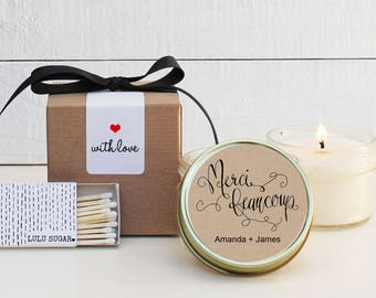 Wedding Favor Candles - Merci Beaucoup Label Design - Thank You Wedding Favors | Personalized Wedding Favors | Soy Candle Favor | Set of 6