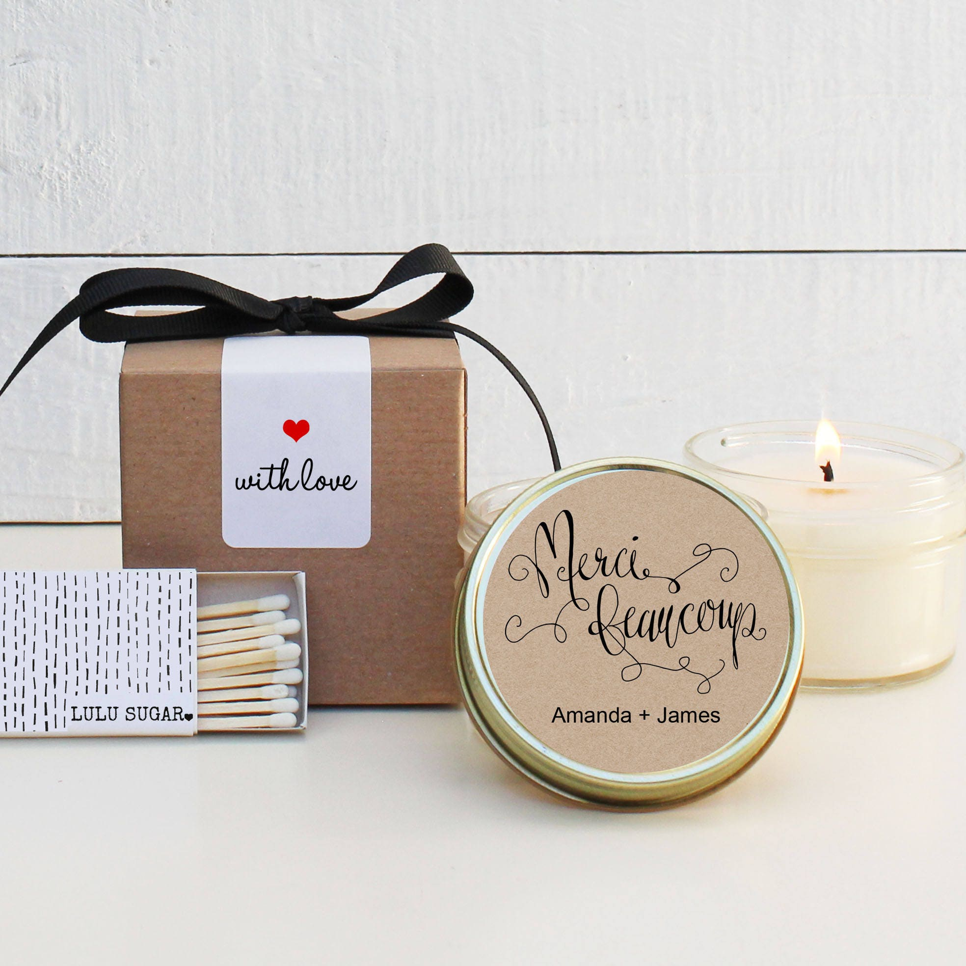 Wedding Favor Candles Merci Beaucoup Label Design Thank