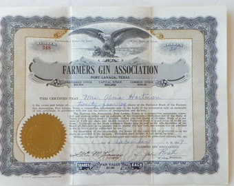Vintage Texas Stock Certificate--Circa 1940's to 50's