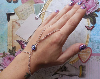 Evil Eye Hand Chain, Finger Chain, Slave Bracelet