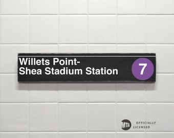 Willets Point- Shea Stadium Station - New York City Subway Sign - Wood Sign
