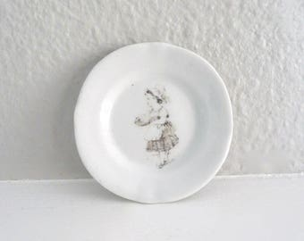 Vintage Black and White China Tea Bag Plate, Spoon Rest or Trinket Dish