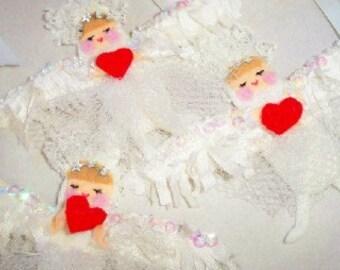 THREE Cupid Angels,  Angels, Wedding favors, Valentines ornaments, Angel brooch, silk wings, all Hand sewn