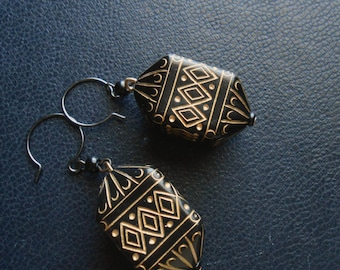cathedral - large black and gold statement earrings - gothic occult inspired jewelry long lightweight dangles