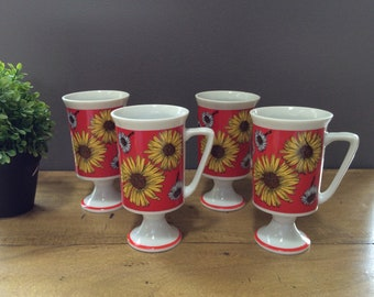 1970's  Daisy Flower Power Footed/ Pedestal Mugs.  Set of 4 Vintage Pedestal Mugs. Daisy Mugs