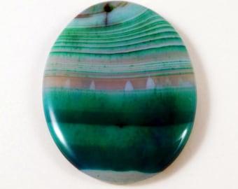 Turquoise Stripes Agate Oval Stone Pendant