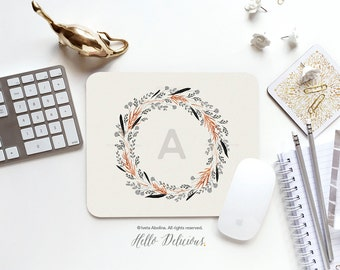 Monogram Mouse Pad Mousepad Floral Watercolor Mouse Mat Wreath Mouse Pad Office Mousemat Rectangular Floral Personalized Mousepad Round 74.