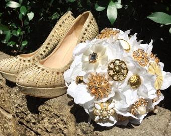 Hochzeit Brosche Bouquet, Broach Bouquet, Brosche Bouquet, Gold Bouquet, Flowergirl Bouquet, Brautjungfer Bouquet, Schaltfläche Bouquet, Zahlen Sie nur