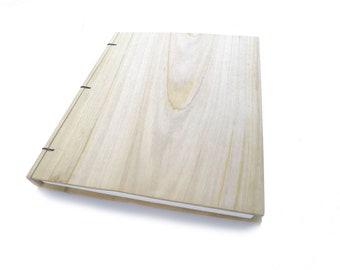 Poplar Wooden Notebook Wood Journal Sketchbook Rustic Wood Wedding Guest Book Personalized Journal Refillable Journal Custom Journal