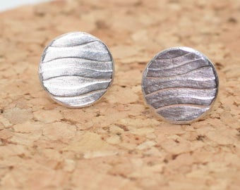 Small sterling silver textured post earrings, OOAK, ready to ship