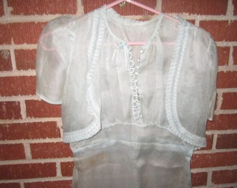 Vintage 1930s/40s Pale Blue Transparent Voile Sleeveless 2 pc Dress