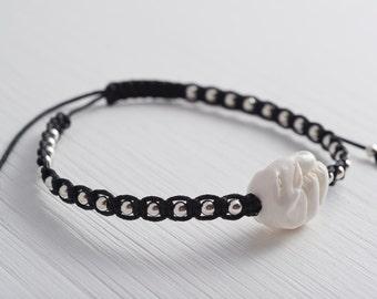 black elephant bracelet, petite elephant carved bone bead and sterling silver beads adjustable bracelet, black, ELEPHANTS NEVER FORGET