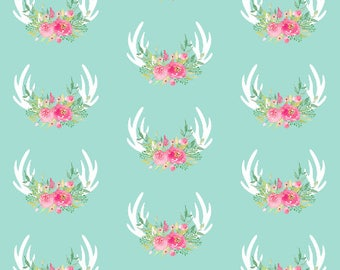 Mint Floral Antlers Fabric by the Yard Cotton Fabric Quilting Fabric Baby Girl Nursery Organic Cotton Fabric Childrens Fabric 7154245