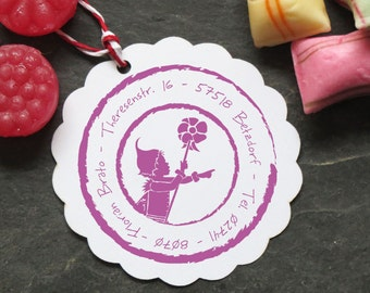 40 ø stamp fairy silhouette with address