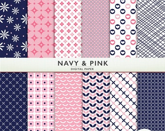 Navy and Pink Digital Paper -  Blue -  Scrapbooking Instant Download & Printable G7817