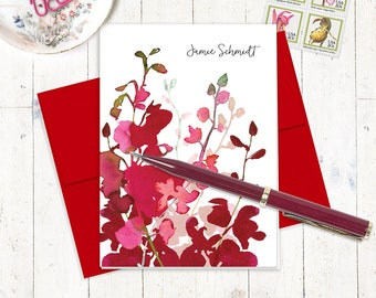 personalized stationery set - RED WATERCOLOR ORCHID - set of 8 folded cards - custom stationary - red orchid - pink orchid - feminine cards