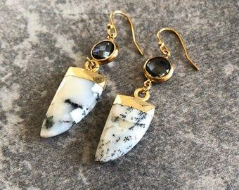 Dendrite Earrings / Dendrite Tusk Earrings /Dendrite Jewelry / Handmade Earrings / Dendrite / Birthday Gifts / Gemstone Earrings