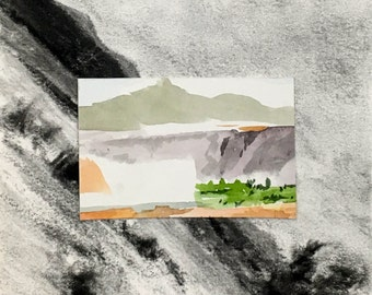 Miniature Landscape Painting/Drawing Collage