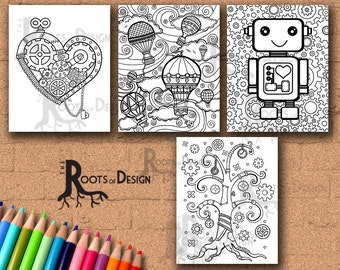 Instant Download- Steampunk Style Coloring Bundle - Coloring Page or Print