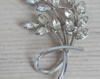Vintage sterling silver and rhinestone brooch