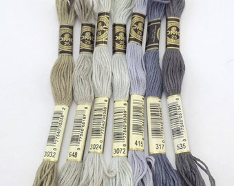Grays, Khakis, Whites & Neutrals: DMC Classic 6 Strand Embroidery Floss (100% Egyptian cotton) BLACK is sold out