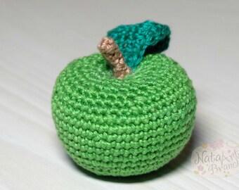 Сrochet apple Crochet fruit Eco-friendly Amigurumi fruit Play food Soft toy Crochet Fake Organic toy Educational toy Toddler gift Baby toy