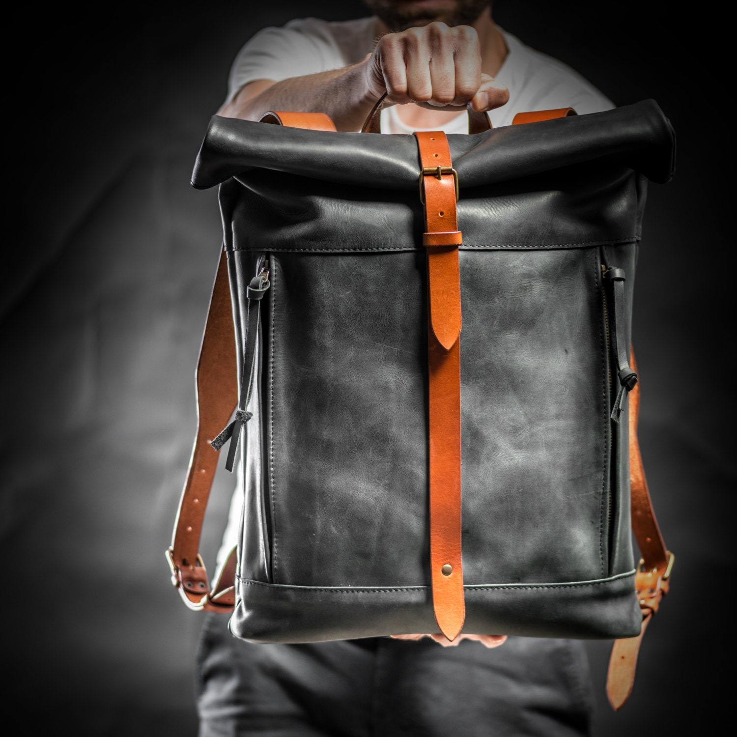 Leather backpack Roll top backpack by Kruk Garage Black