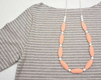 Silicone Teething Necklace | Nursing Necklace | Teething Accessory | Marquise Peach