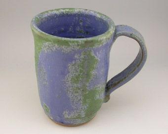 Rustic Mug, Stoneware Mug, Green and Blue Mug, Handmade Ceramic Mug