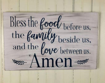 Bless the Food Before Us Dining Room Wood Sign, Christian Farmhouse Signs, Christian Kitchen Decor, Dining Room Signs, Christian Wall Decor