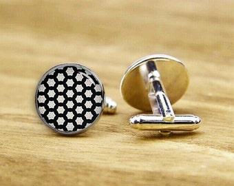 gridding cufflinks, white and black cufflinks, personalized cufflinks, custom wedding cufflinks, round, square cufflinks, tie bars, or set
