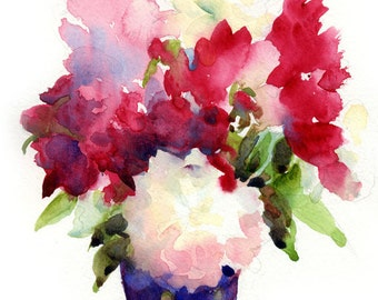 Red, Pink and White Peonies in a Blue Vase - Watercolor  Print