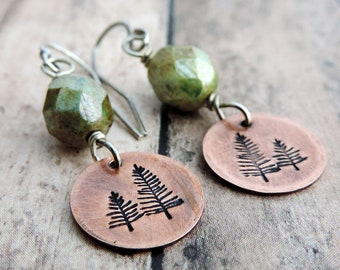 Copper Pine Tree Earrings with Green Czech Glass Bead - Nature Jewelry - Woodland and Forest Inspired - Hiker Gift