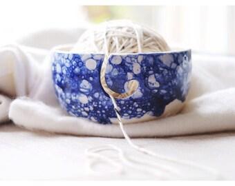 Cobalt Hand-painted Porcelain Knitting Bowl