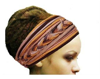 Mustard Brown Autumn Dreadlock Accessories Woodland Headband Head Scarf Tribal Headband Frayed Style Boho Gypsy Headband Hippie Head Wear